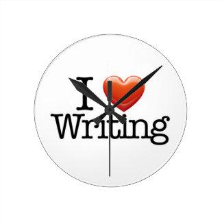I Love Writing Round White Wall Clock