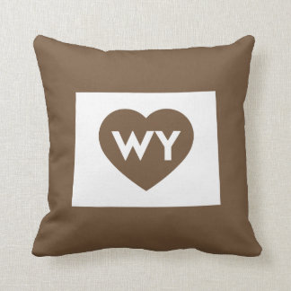 "I Love Wyoming State Throw Pillow 16"" x 16"""
