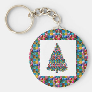 I LOVE XMAS : TREE jadded with PEARL JEWEL GEMS Basic Round Button Keychain