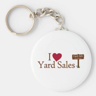 I Love Yard Sales Basic Round Button Keychain