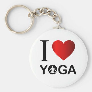I love yoga basic round button keychain