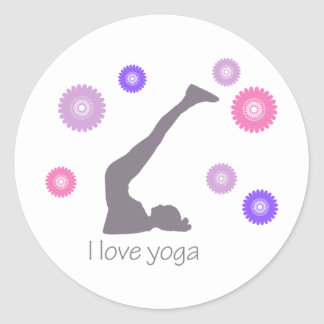 I Love Yoga cool design! Classic Round Sticker