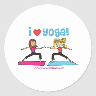 i love yoga round sticker
