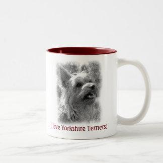 I Love Yorkshire Terriers, Pencil Drawing Mug