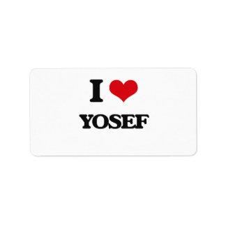 I Love Yosef Address Label