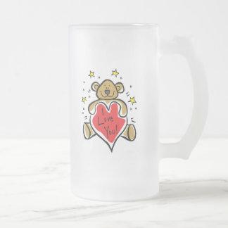 I Love You 16 Oz Frosted Glass Beer Mug
