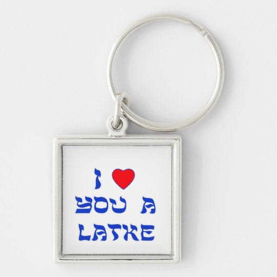 I Love You a Latke Silver-Colored Square Keychain