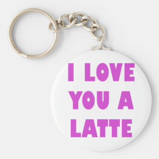 I Love You a Latte Basic Round Button Keychain