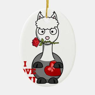 i love you alpaca ceramic ornament