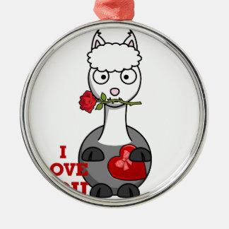 i love you alpaca metal ornament