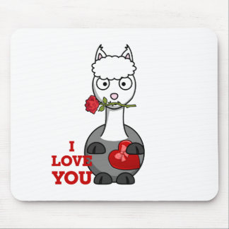 i love you alpaca mouse pad