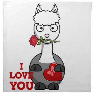 i love you alpaca napkin