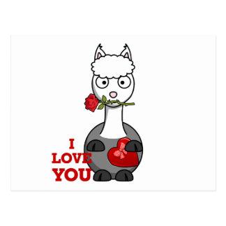 i love you alpaca postcard