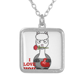 i love you alpaca silver plated necklace