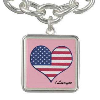 I Love you American heart Charm