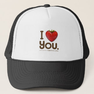 I love you and strawberry heart trucker hat