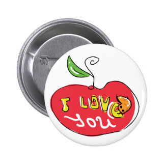 I love you apple with worm button