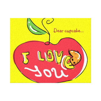 I love you apple with worm canvas canvas print