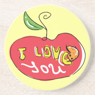 I love you apple with worm coaster