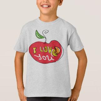 I love you apple with worm kid shirt