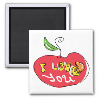I love you apple with worm magnet