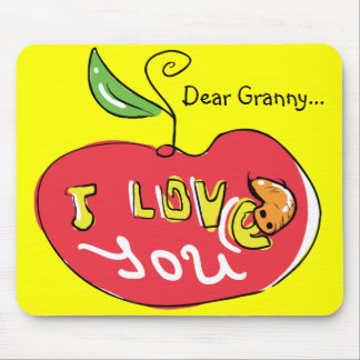 I love you apple with worm mousepad