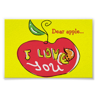 I love you apple with worm print
