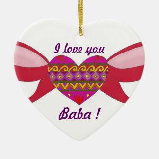 I Love You Baba Ceramic Heart Ornament