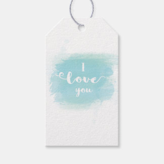 """I love you"" baby blue calligraphy watercolor Pack Of Gift Tags"