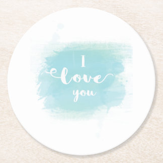 """""""I love you"""" baby blue calligraphy watercolor Round Paper Coaster"""