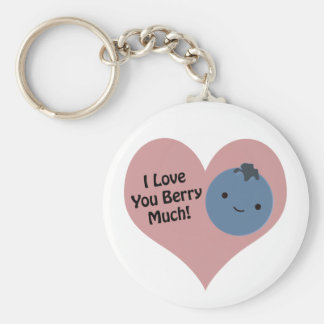 I love you berry much blueberry basic round button keychain