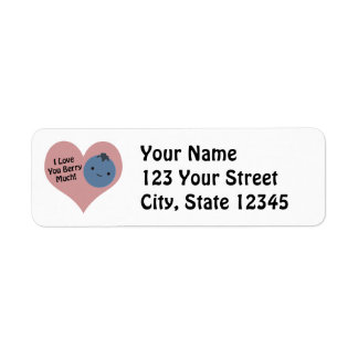 I love you berry much blueberry return address label