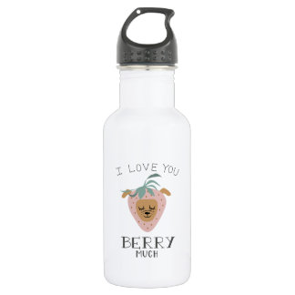 """""""I Love You BERRY Much"""" Strawberry Dog Pun 532 Ml Water Bottle"""