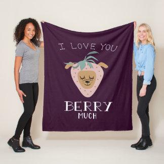 """I Love You BERRY Much"" Strawberry Dog Pun Fleece Blanket"