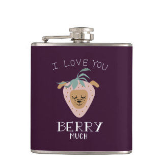 """""""I Love You BERRY Much"""" Strawberry Dog Pun Hip Flask"""