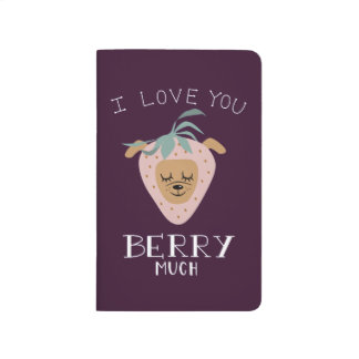 """I Love You BERRY Much"" Strawberry Dog Pun Journal"