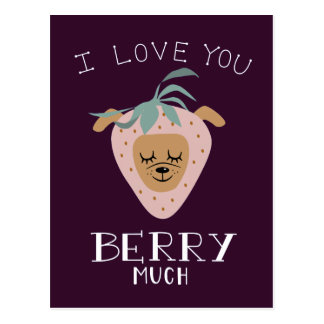 """""""I Love You BERRY Much"""" Strawberry Dog Pun Postcard"""