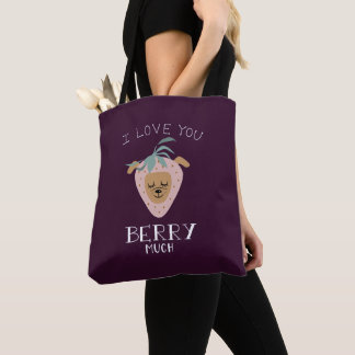 """""""I Love You BERRY Much"""" Strawberry Dog Pun Tote Bag"""