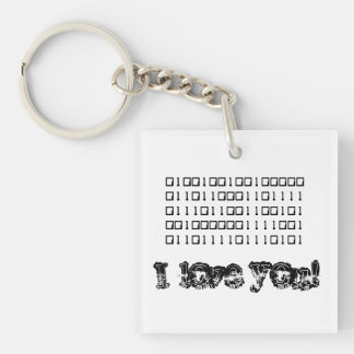 I Love You Binary Keychain