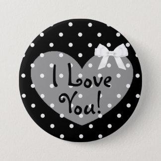 I Love You Black Dots Romantic White Bow Button