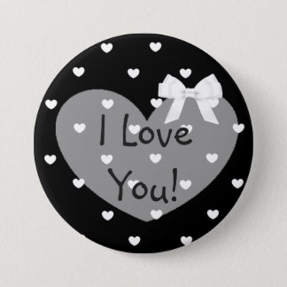 I Love You  Black Hearts White Bow Button