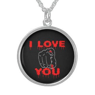 I Love You Black Sterling Silver Necklace
