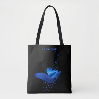 I love You , Blue Rainbow Heart with Stars Tote Bag