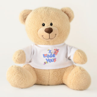 """I Love You"" Blue Tipsy Block Letters, Hearts Teddy Bear"