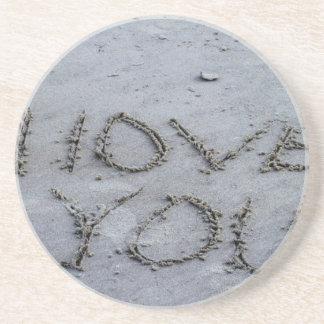 I Love You Carved Into the Sand Drink Coasters