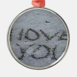 I Love You Carved Into the Sand Silver-Colored Round Ornament