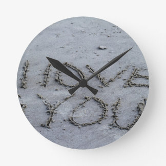 I Love You Carved Into the Sand Wall Clock