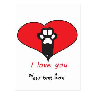 """I love you"" Cat footprint Postcard"
