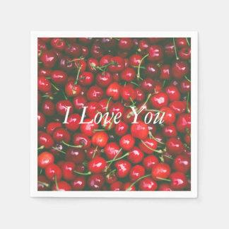 I Love You - Cherry design Disposable Napkins