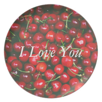 I Love You - Cherry design Plate